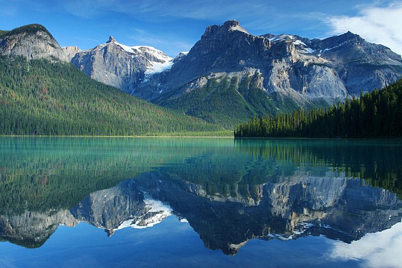 翡翠湖,加拿大落基山脉,水,天空,水平画幅,无人,纯净,户外,湖,针叶树