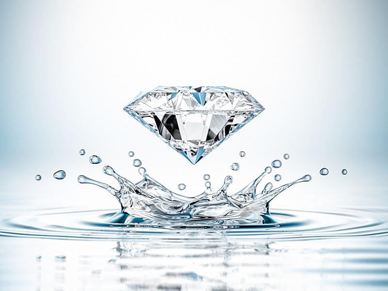 钻石,饮用水,水晶,水,禅宗,留白,水平画幅,形状,无人,符号