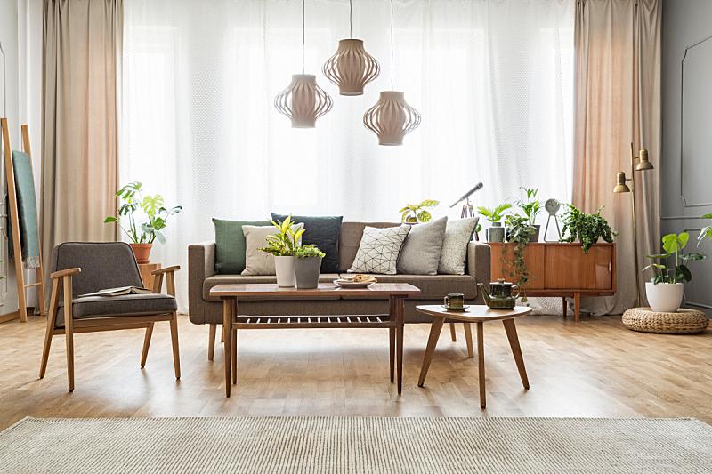沙发,窗帘,扶手椅,灰色,桌子,木制,软垫,室内,平坦的,摄影