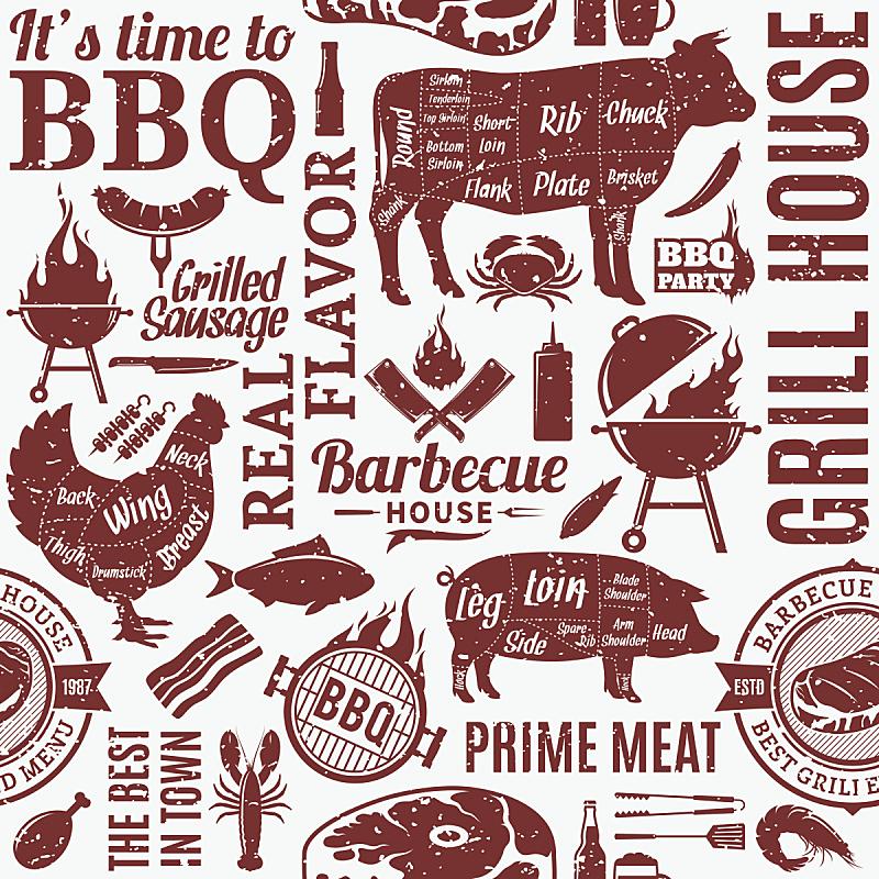 烤肉架,矢量,四方连续纹样,英国飞机公司,复古风格,纹理效果,绘画插图,海产,标签,熏猪肉