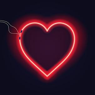 金属丝,明亮,霓虹灯,暗色,心型,标志,图像特效,背景,电缆,白炽灯泡