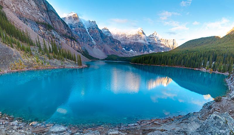 梦莲湖,风景,十峰谷,冰碛,洛矶山脉,水平画幅,雪,阿尔伯塔省,无人,夏天
