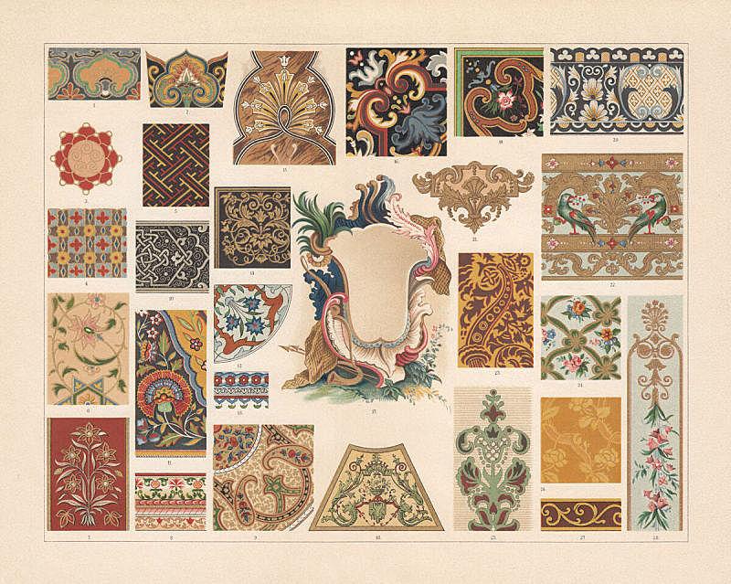 式样,巴洛克风格,彩色平版印刷,亚洲,多样