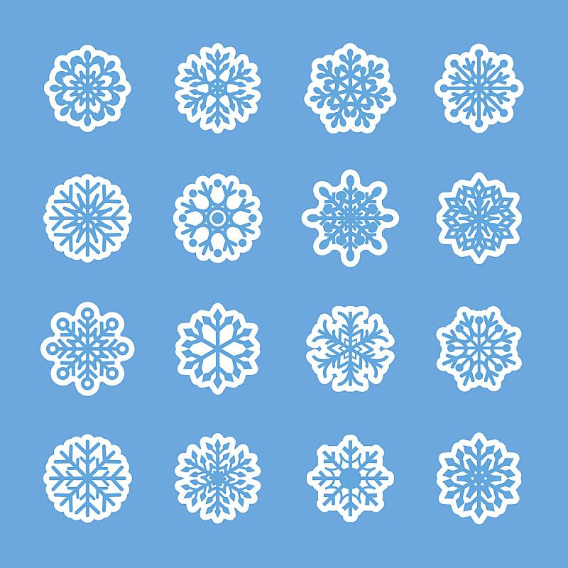 图标集,雪花,矢量,数字7,华丽的,圣诞装饰物,一月,环境,霜,雪