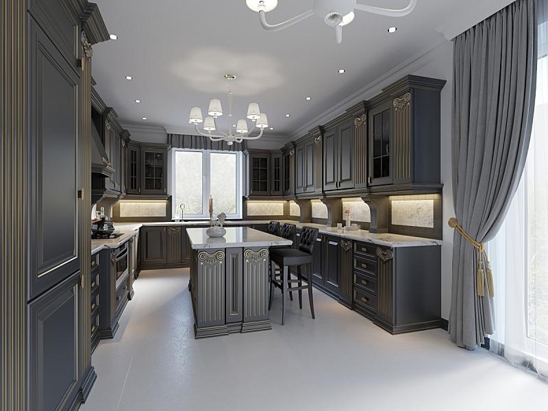 暗色,现代,厨房,木制,古典风格,空的,舒服,椅子,古典式,窗户