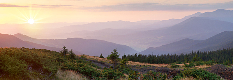 全景,山脉,俄亥俄河,时间,天空,美,水平画幅,山,无人,早晨