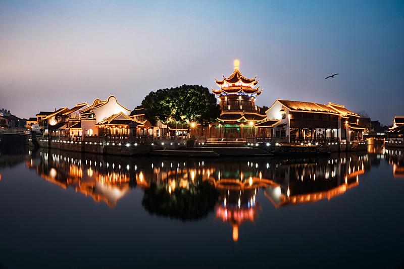 山塘街,水,美,古代文明,江苏省,水平画幅,夜晚,无人,传统,鸟类