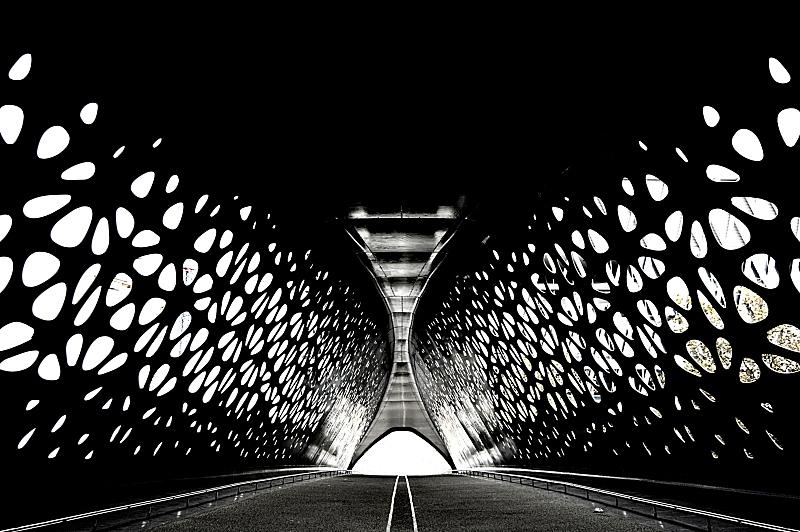 对称,隧道,桥,安特卫普市,高对比度,反差,比利时,建筑,横越,美