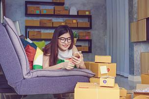 网上购物,亚洲,业主,青少年,青年人,女商人,职业,商务人士,办公用品,住宅内部