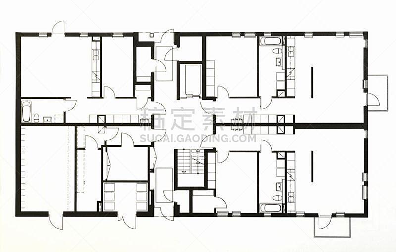 蓝图,绘画插图,成一排,水平画幅,建筑,无人,蓝色,房屋,线条,复杂