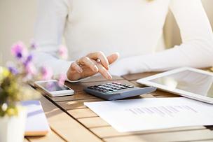 计算器,女商人,预算,数,税表,储蓄,表格填写,税,职权