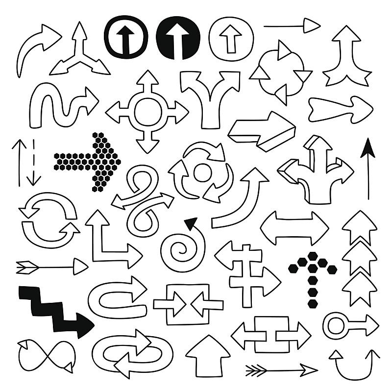 箭头符号,乱画,符号,荷兰,铅笔画,方向标,轮廓线画,绘画插图,布置,下载