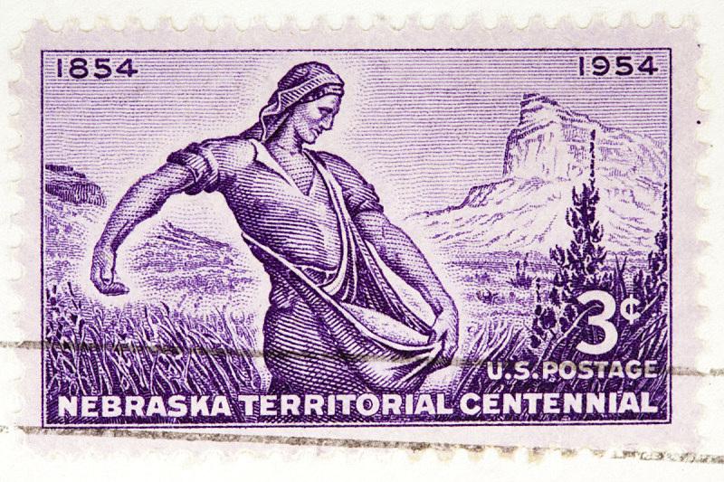 1954,内布拉斯加,领土行为,森特尼尔,邮戳,女人,水平画幅,图像,彩色图片