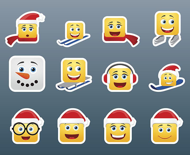 标签,雪板,雪橇,可爱的,圣诞帽,雪,面部表情,人的脸部,圆形,绘画插图