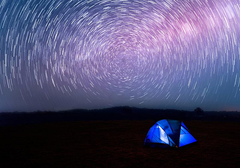 天空,夜晚,帐篷,在下面,银河系,蓝色,水平画幅,旅行者,夏天,泰国