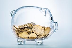 小猪扑满,看,退休金,津贴,一半的,存钱罐,私密,预算,透明