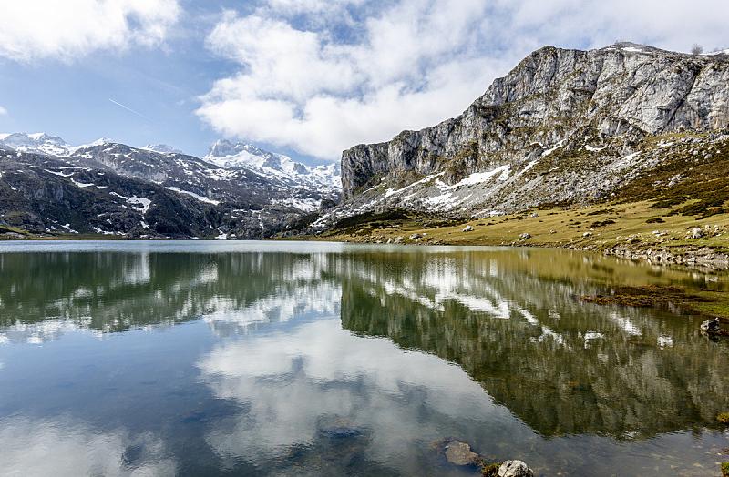 湖,西班牙,欧洲峰,科瓦东珈,阿斯图里亚斯,天空,水平画幅,山,无人,户外