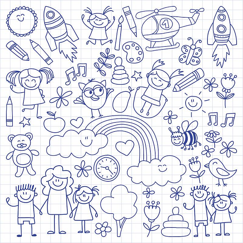 矢量,儿童画,运动,直升机,幼儿园,女婴,铅笔,直的,儿童教育,儿童