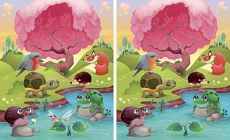 多样,绘画插图,改变形式,两只动物,数字6,在之间,斑点,青蛙,池塘,计算机软件