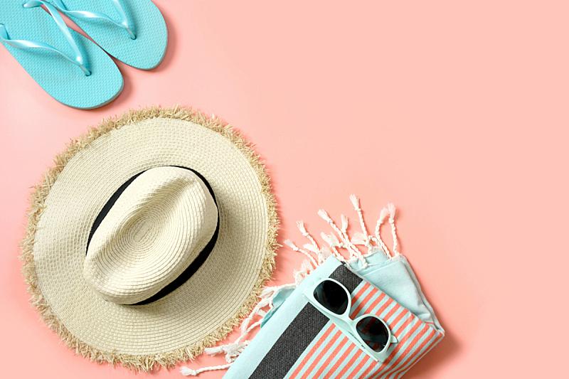 夏天,阔边遮阳帽,太阳镜,衣服,粉色,概念,稻草,留白,海滩,女性