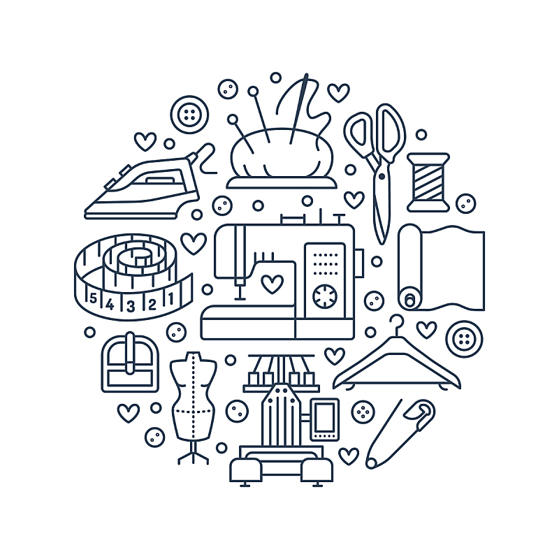 纺织品,设备用品,线,绘画插图,缝纫机,熨斗,商店,矢量,工具,针