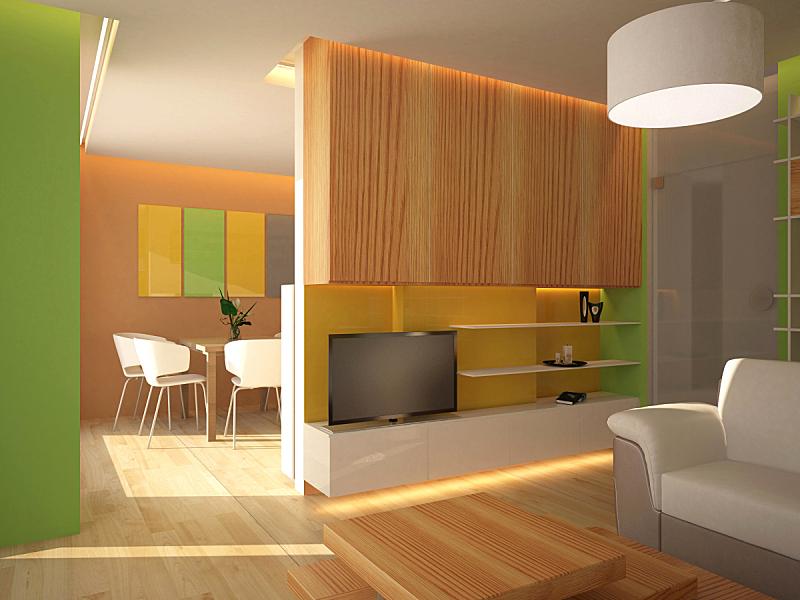 起居室,室内设计师,三维图形,水平画幅,墙,无人,椅子,架子,灯,家具