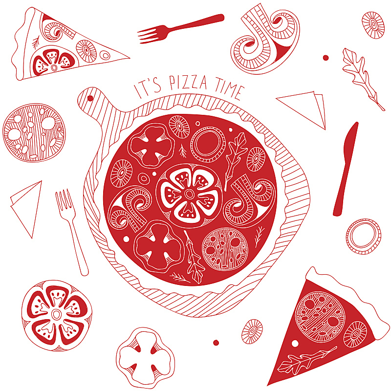 乱画,披萨店,意大利腊肠,比萨饼,红色,式样,食品,桌子,芝麻菜,顶部