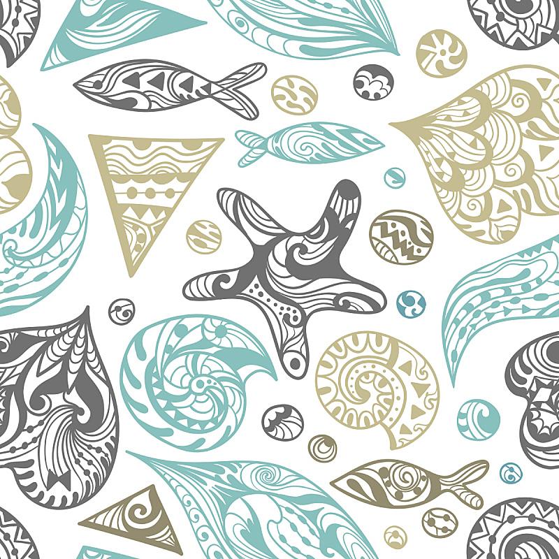 海洋,矢量,式样,洋葱花,海洋生命,海星,华丽的,螺线,彩色背景,壁纸
