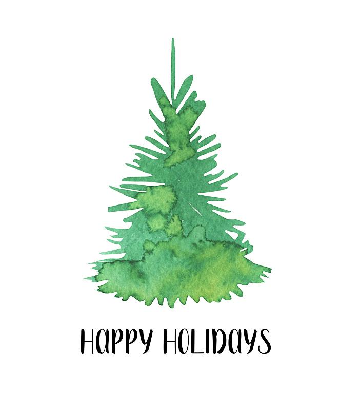 绿色,杉树,白色背景,分离着色,水彩画,可爱的,垂直画幅,贺卡,新的,艺术