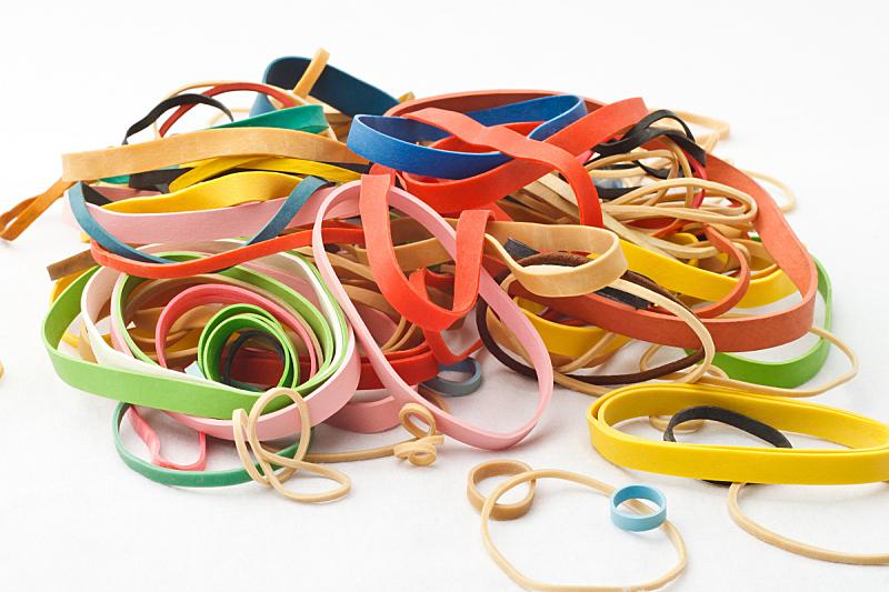 橡皮圈,水平画幅,绿色,蓝色,凌乱,红色,紫色,黄色,粉色,多样