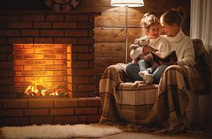 夜晚,冬天,书,儿童,幸福,壁炉,女儿,家庭,读书,挨着