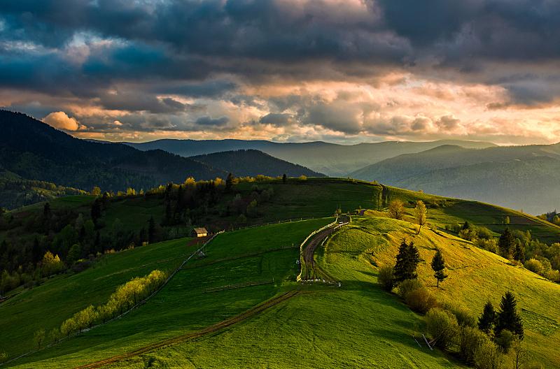 篱笆,木制,山脉,小路,卡帕锡安山脉,天空,美,地名,水平画幅,山
