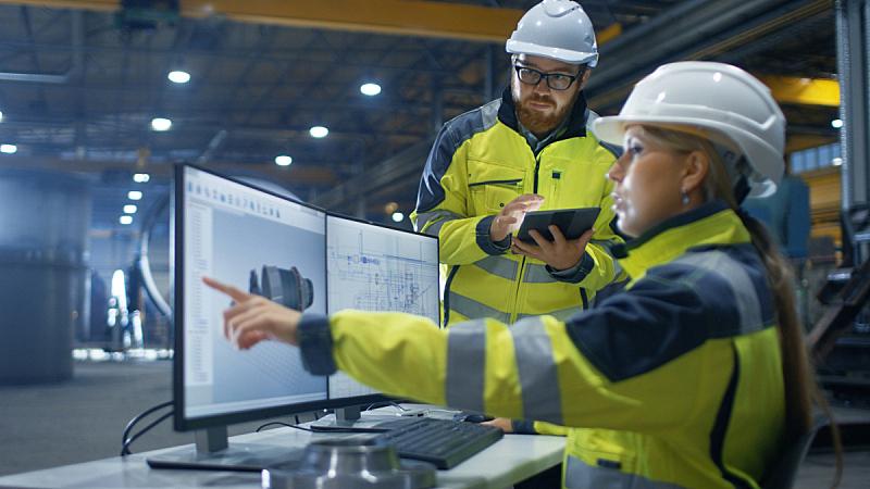 涡轮,工业,女人,工厂,工程师,三维图形,模型,设计,工作,合伙