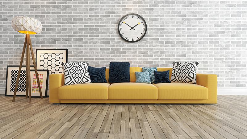 砖墙,巨大的,起居室,白色,座位,纹理效果,家具,居住区,现代