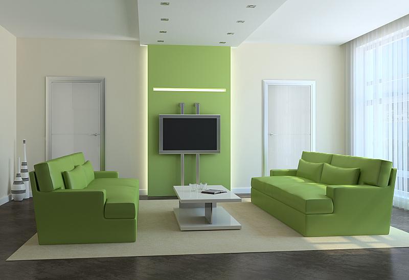 现代,起居室,住宅房间,座位,水平画幅,绿色,无人,装饰物,家具,公寓