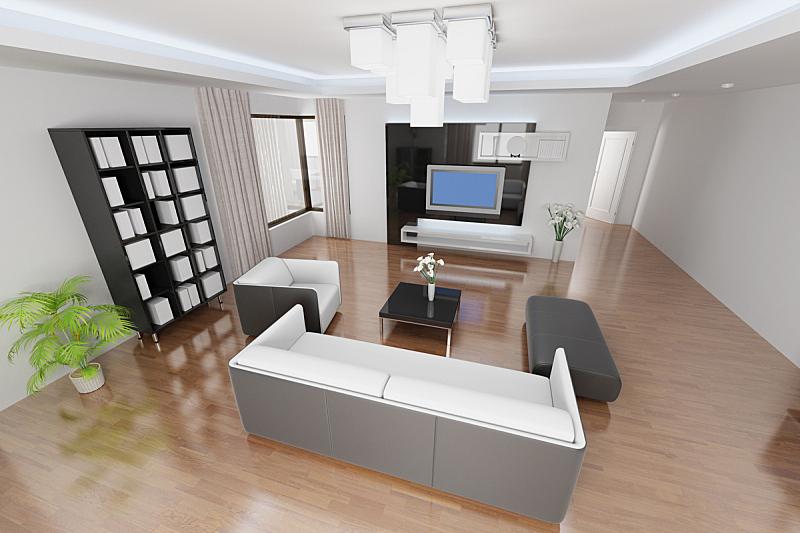 现代,起居室,座位,水平画幅,形状,无人,硬木地板,架子,灯,家具
