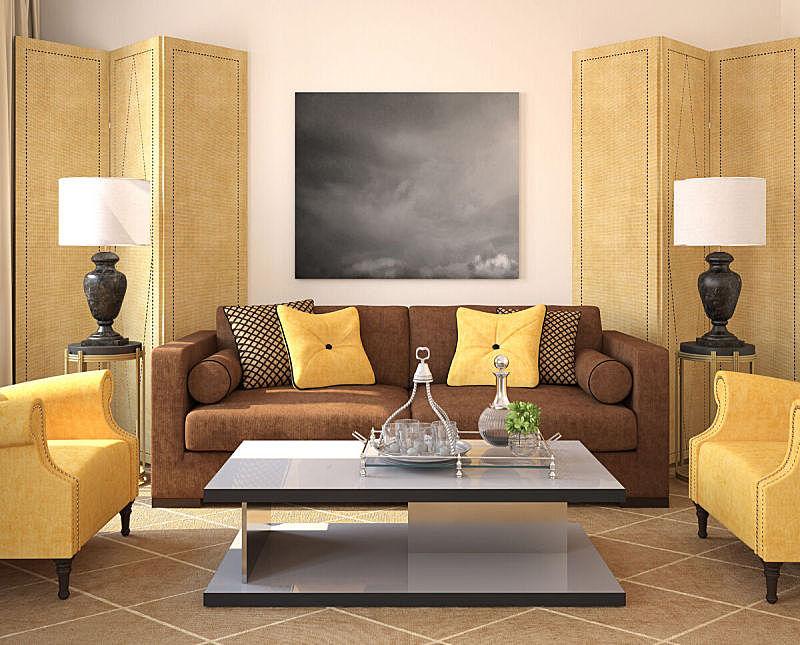 现代,室内,起居室,跪垫,褐色,座位,水平画幅,形状,无人,地毯
