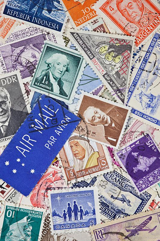 航空邮件,邮戳,垂直画幅,美国,邮件,无人,大量物体,复古风格,摄影
