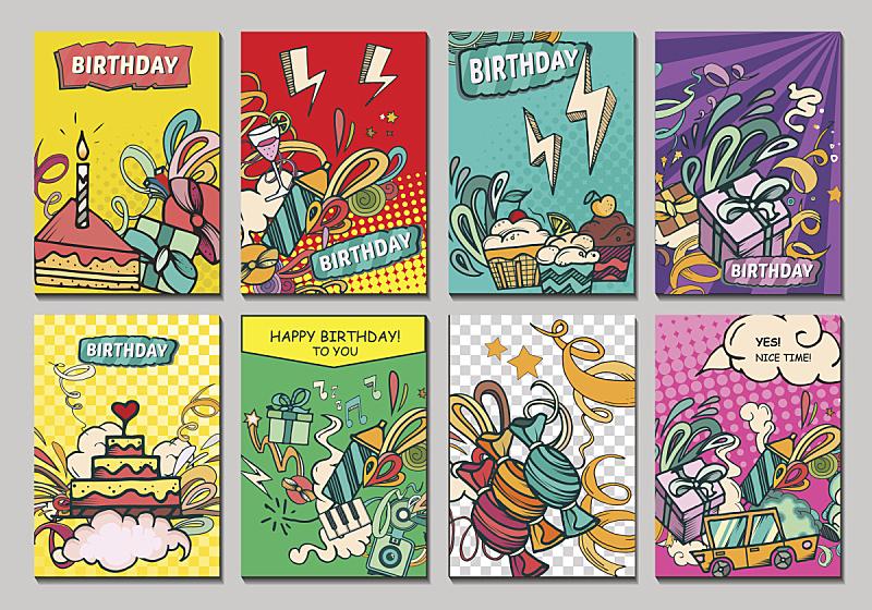 生日卡,贺卡,生日蜡烛,生日蛋糕,装饰蛋糕,派对帽,速写本,生日,事件,杯