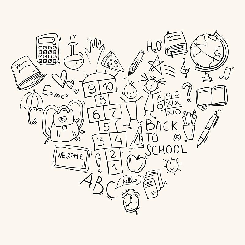 乱画,学校,心型,符号,手,跳房子游戏,青少年,绘画插图,计算机制图