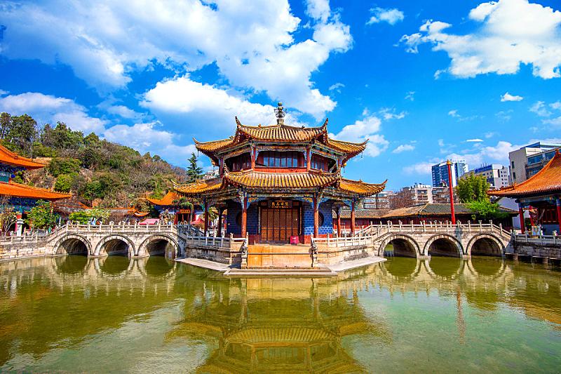 昆明,云南省,寺庙,元阳,亭台楼阁,宝塔,古代文明,水,天空,水平画幅