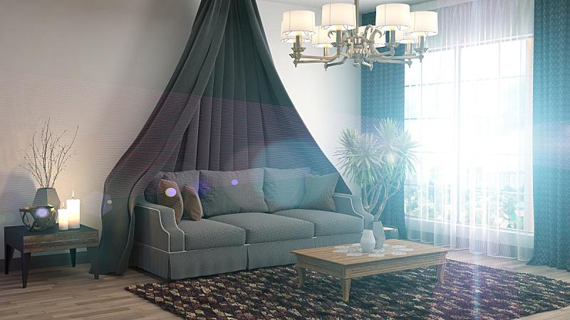沙发,室内,三维图形,绘画插图,座位,水平画幅,无人,蓝色,装饰物,家具