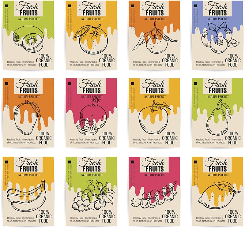 矢量,水果,红醋栗,蓝莓,石榴,芒果 ,梨,奇异果-水果,官吏