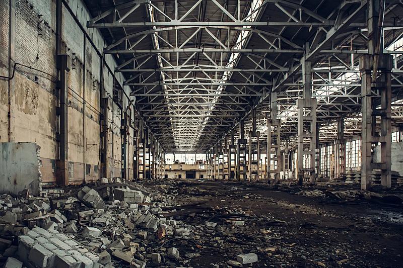 仓库,无人,巨大的,工厂,被抛弃的,车间,建筑业,水平画幅,古老的,金属