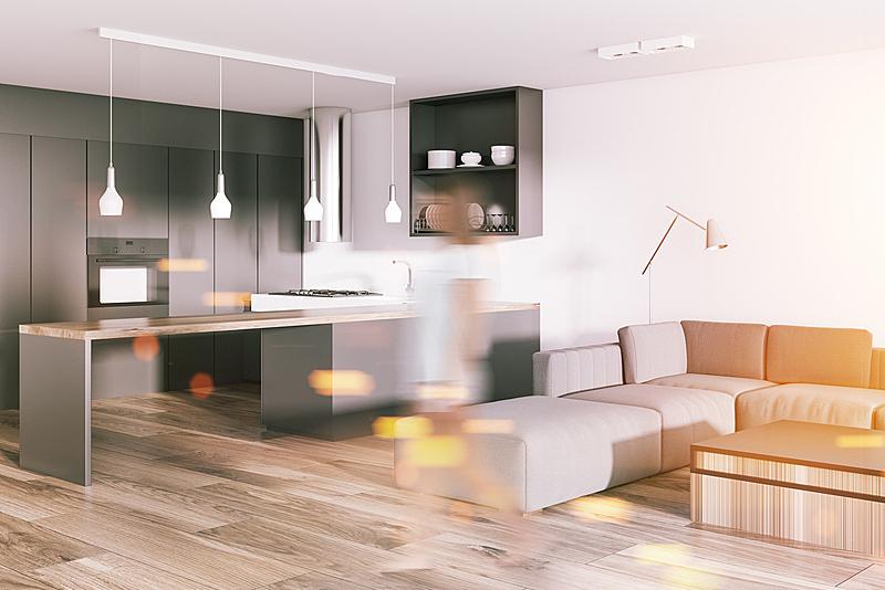 厨房,单色图片,灰色,角落,起居室,白色,新的,水平画幅,椅子,巨大的