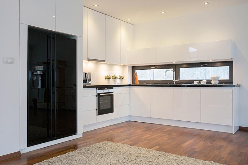 冰箱,黑色,厨房,明亮,水平画幅,无人,家具,居住区,现代,白色