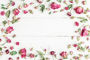 玫瑰,干的,边框,视角,平铺,母亲节,国际妇女节,花瓣,爱沙尼亚,花蕾