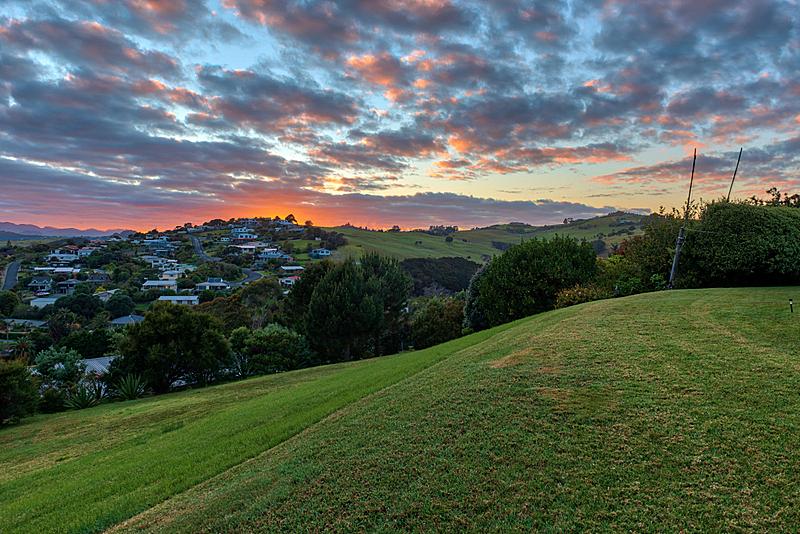新西兰,黎明,色彩鲜艳,城镇,在上面,自然,房屋,图像,美,日光