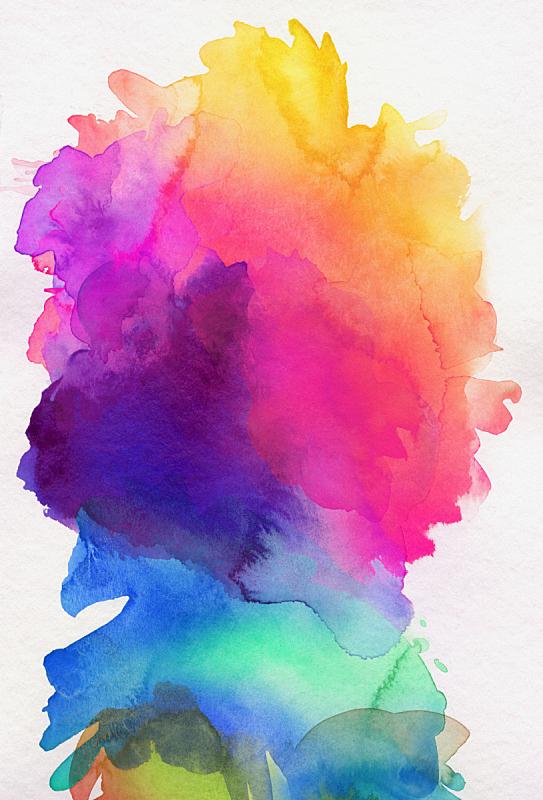 水彩颜料,纸,彩虹,色彩鲜艳,多色的,墨水,创造力,艺术,涂料