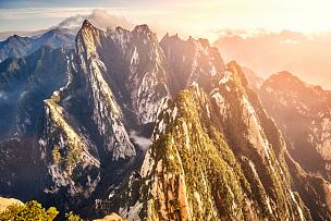 中国,山,顶部,看风景,旅游目的地,华山,陕西省,原野,秘密,悬崖